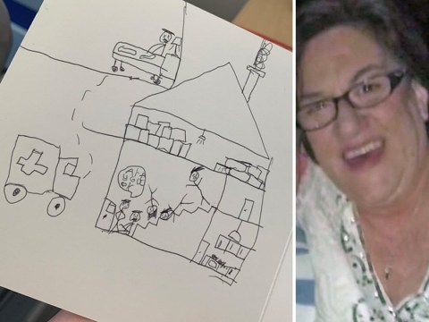 Child's very graphic drawing to grandma in get well soon card