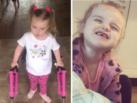 Three-year-old girl walks for first time after doctors said it may never happen
