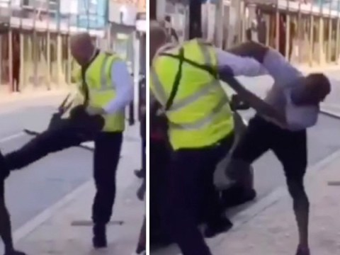 Moment traffic warden attacks driver in brutal brawl