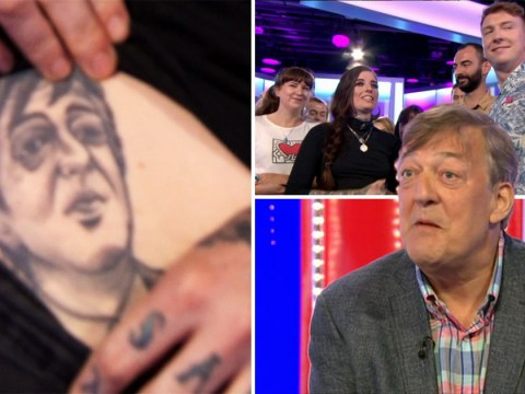 Stephen Fry comes face to face with tattoo version of himself on woman's belly