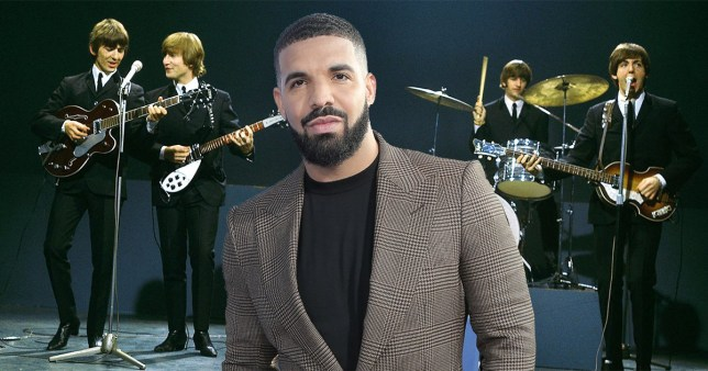 Drake in front of The Beatles performing on stage