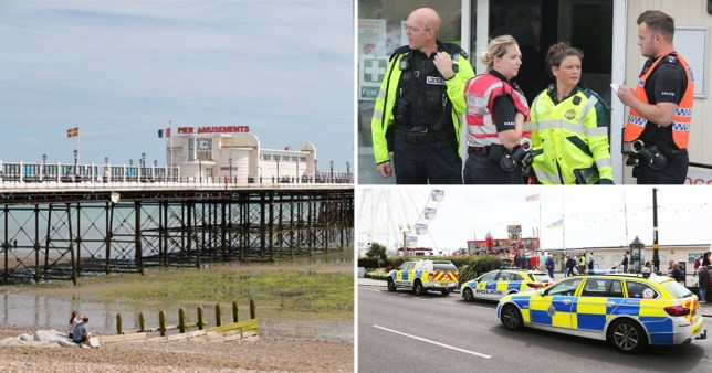 Worthing Beach was cordoned off yesterday