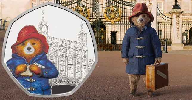 Paddington Bear in Paddington the movie, standing next to the new Paddington 50p coin
