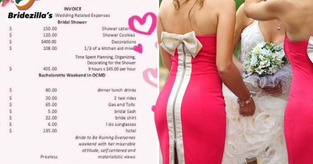 Bridesmaid invoice