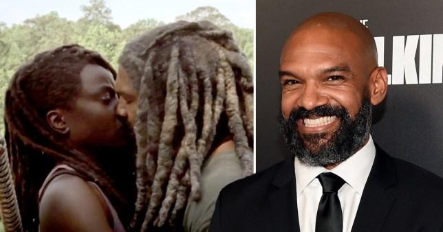 Michonne and Ezekiel kiss  - Khary Payton comp
