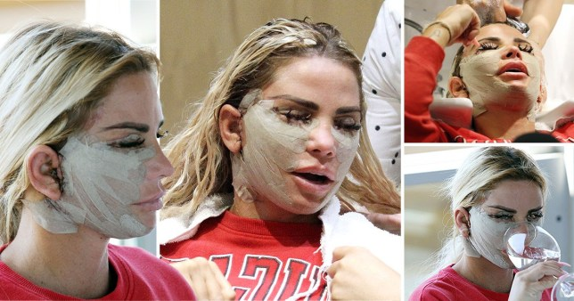 Katie Price looks sore after painful facelift surgery that 'left kids in tears over fears someone had hurt her' PRC_80244010