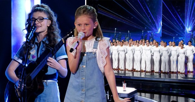 Ansley Burns, Sophie Pecora and Emerald Belles performing on America's Got Talent