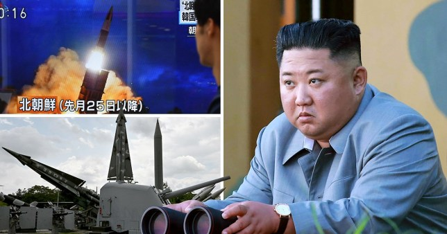 kim jong un next to a picture of a missile launch and missiles