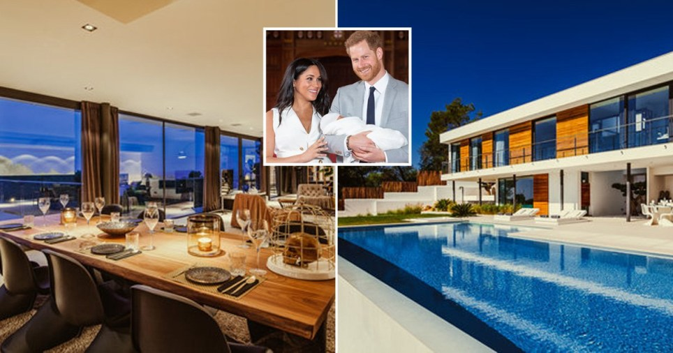 Picture of Prince Harry and Meghan Markle in front of pictures of the Vista Alegre complex of luxury villas in Ibiza