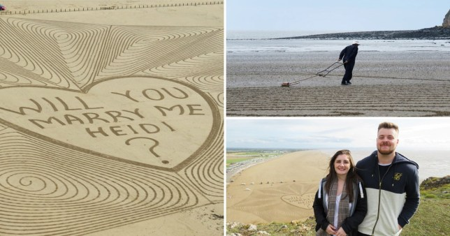 Man writes 85-metre 'will you marry me' sign across beach to