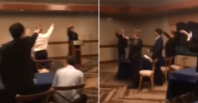 Children sing Nazi songs and give Hitler salutes during awards ceremony