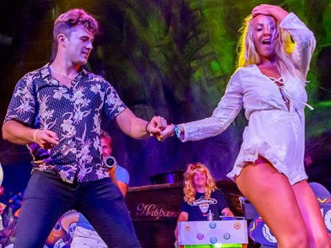 Love Island's Curtis Pritchard returns to Spain for a PA and impromptu dance lesson on stage
