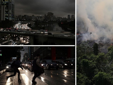 Amazon rainforest fire so huge Sao Paulo has been plunged into darkness