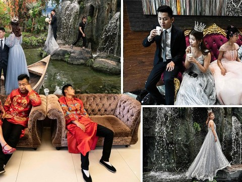 Pictures show Chinese trend of taking wedding photos in fake sets before the big day