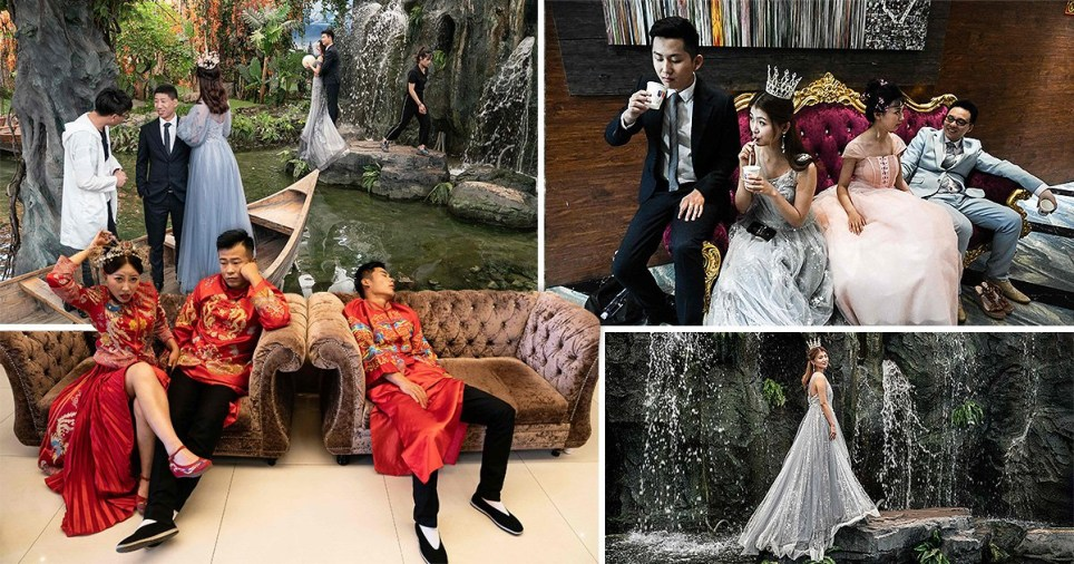 his picture taken on June 20, 2019 shows a bride posing for a picture on a waterfall-themed set during her pre-wedding photo shoot at the Love Story in Rome Studio in Beijing.