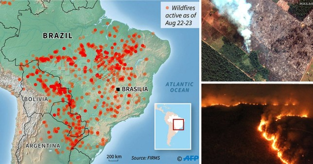 Map shows huge scale of fires rag Amazon rainforest ... on google map, deforestation map, kilimanjaro map, costa rica map, nile map, la paz capital map, danube river map, indus river map, congo river map, yellow river map, yangtze map, brazil map, orinoco map, atacama desert map, rio grande map, andes map, himalayas map, pampas map, buenos aires map, brazilian highlands map,