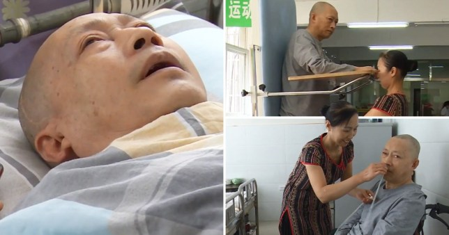 Doctors say Mr Li's nervous system had been stimulated by his wife's decision to talk to him and play him music (Picture: Pear Video)