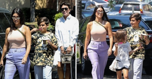 Kourtney ignored all of the vagina cleanse drama as she enjoyed a family day out (Picture: Backgrid)