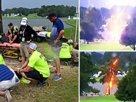 Five golf fans rushed to hospital after being struck by lightning