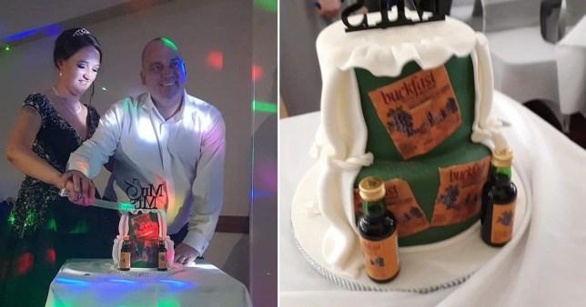 Couple cutting their Buckfast-themed cake on their wedding day