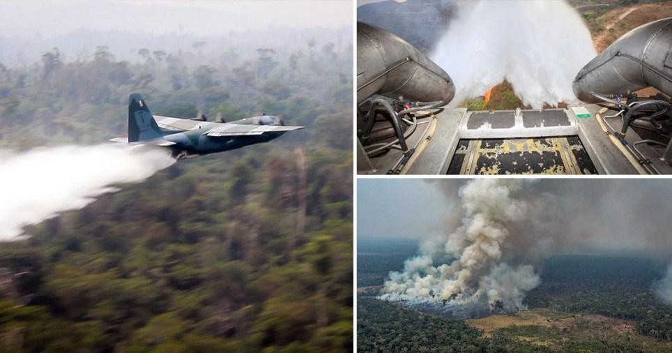 Brazilian war planes used in fight against raging Amazon