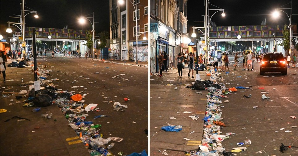 Litter lines the streets as Notting Hill Carnival wrapped up on Monday night (Picture: PA)