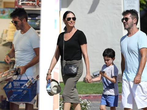Simon Cowell stocks up on puzzles and a glider as he hits the shops with Eric and Lauren Silverman