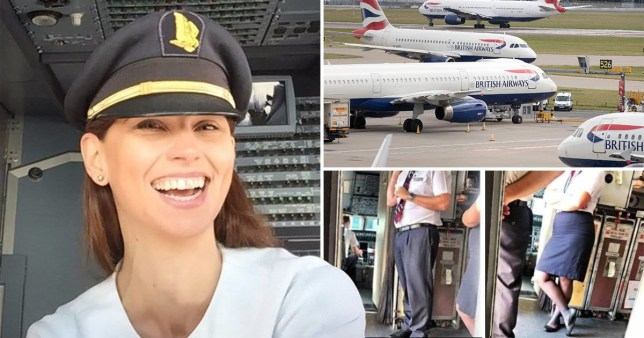 Mrs Richter next to pictures of BA planes and crew