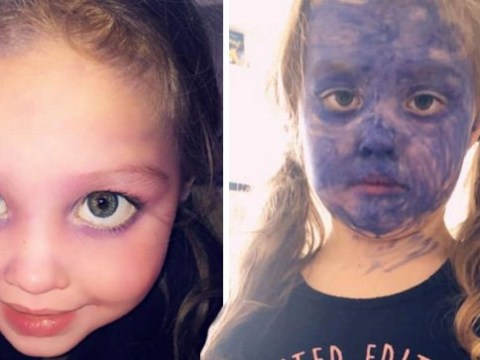 Mum ready for daughter to go back to school after she coloured her face purple