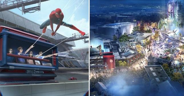 Split image showing mock-ups of the Spider-Man attraction at Disneyland Paris