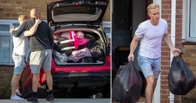 Kris Boyson throwing out Katie Price's stuff