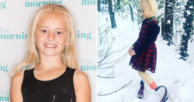 Split image of Daisy-May Demetre, a child model with no legs