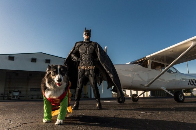 Florida man dressed as batman standing next to his private jet