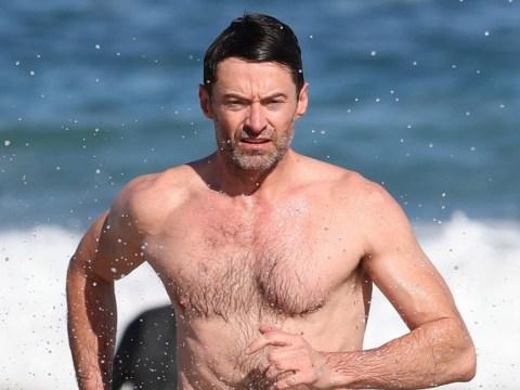 Hugh Jackman does his best Baywatch impression on Bondi Beach during sun-kissed tour break
