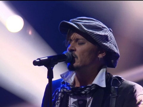 Johnny Depp channels David Bowie as he belts out Heroes with Alice Cooper and Aerosmith's Joe Perry