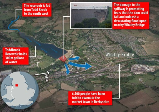 whaley bridge toddbrook reservoir flood map graphic