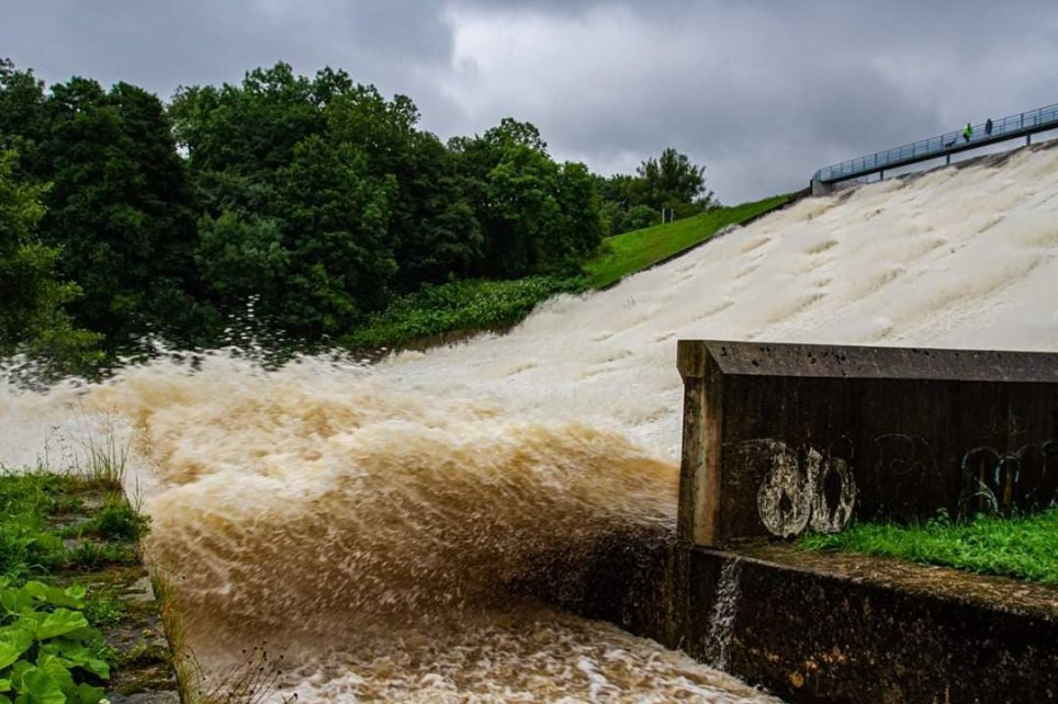 Handout photo issued by Ash Cox Photography of the Toddbrook Reservoir dam after it was damaged in heavy rainfall. PRESS ASSOCIATION Photo. Issue date: Thursday August 1, 2019. See PA story WEATHER Rain. Photo credit should read: Ash Cox Photography/PA Wire NOTE TO EDITORS: This handout photo may only be used in for editorial reporting purposes for the contemporaneous illustration of events, things or the people in the image or facts mentioned in the caption. Reuse of the picture may require further permission from the copyright holder.