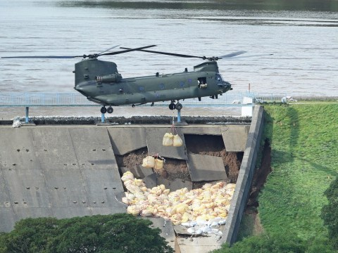 RAF drafted in to stop dam from collapsing and destroying town below