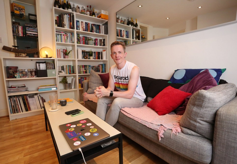 Tenant Caspar Aremi is pictured in the living room of his one bedroom flat in Brixton, London, August 2nd, 2019