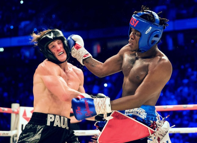 Logan Paul and KSI during their boxing match in August 2018