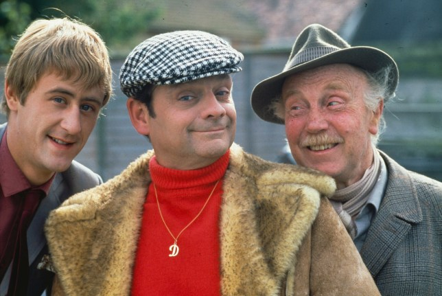 Nicholas Lyndhurst, David Jason and Lennard Pearce on the set of Only Fools and Horses circa 1983