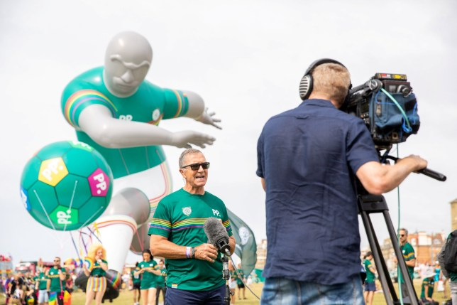 Inflatable football player floats over Brighton pride to show the lack of gay players in the Premier League