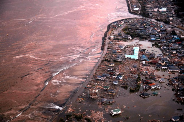 IWAKI, JAPAN - MARCH 11: (CHINA OUT, SOUTH KOREA) In this aerial image, Iwaki city which is devastated by the tsunami triggered by the magnitude 9.0 strong earthquake, is seen on March 11, 2011 in Iwaki, Fukushima, Japan. The quake struck offshore at 2:46pm local time in March 11, triggering a tsunami wave of up to 10 metres which engulfed large parts of north-eastern Japan. (Photo by The Asahi Shimbun via Getty Images)