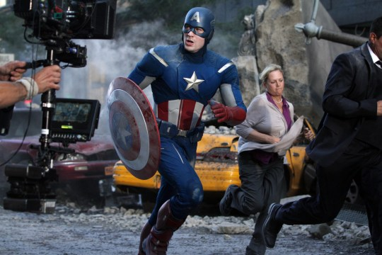 Editorial use only. No book cover usage. Mandatory Credit: Photo by Marvel Enterprises/Kobal/REX (5886273ca) Chris Evans The Avengers - 2012 Director: Joss Whedon Marvel Enterprises USA On/Off Set Avengers Assemble