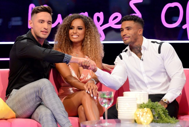 Editorial Use Only. Mandatory Credit: Photo by Jonathan Hordle/REX (10354066dn) Greg O'Shea, Amber Gill and Michael Griffiths 'Love Island: The Reunion' TV show, Series 5, London, UK - 04 Aug 2019