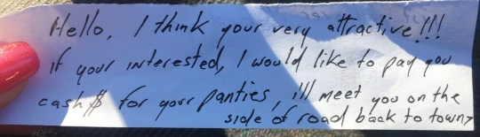 Pic By CATERS NEWS (PICTURED: Creepy note left on car.)- A distressed woman has issued a warning after finding a creepy note from a stranger who thought she was very attractive and asked to buy her PANTIES. Tess Scorrar, 29, said she no longer feels safe at her usual walking spot after she discovered a creepy handwritten note from a complete stranger who thought she was attractive and offered to pay cash for her panties. - SEE CATERS COPY