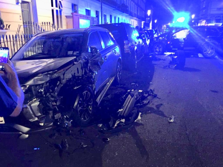 Audi boy racer smashes into McLaren, Porsche and Bentley in £1,000,000 crash