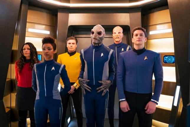 Ep #201 - Pictured: Rachael Ancheril as Lt. Nhan; Sonequa Martin-Green as Michael Burnham; Anson Mount as Captain Pike; David Benjamin Tomlinson as Linus; Doug Jones as Saru: Sean Connolly Affleck as Lt. Connolly of the CBS All Access series STAR TREK: DISCOVERY. Photo Cr: Jan Thijs/CBS ???????? 2018 CBS Interactive. All Rights Reserved.