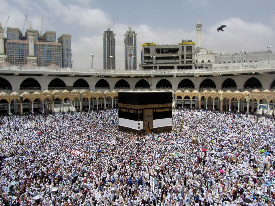 Muslim pilgrims circumambulate around the Kaaba, the cubic building at the Grand Mosque, ahead of the Hajj pilgrimage in the Muslim holy city of Mecca, Saudi Arabia, Thursday, Aug. 8, 2019. Hundreds of thousands of Muslims have arrived in the kingdom to participate in the annual hajj pilgrimage, which starts Saturday, a ritual required of all able-bodied Muslims at least once in their life. (AP Photo/Amr Nabil)