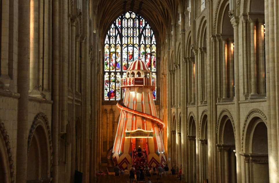 A 40ft helter skelter installed inside Norwich Cathedral as part of the Seeing It Differently project which aims to give people the chance to experience the Cathedral in an entirely new way and open up conversations about faith. PRESS ASSOCIATION Photo. Picture date: Thursday August 8, 2019. Photo credit should read: Joe Giddens/PA Wire